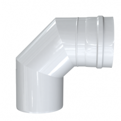 Kolano 90° dwuścienne MKPS Invest MK ŻARY  Ø 80/125mm białe